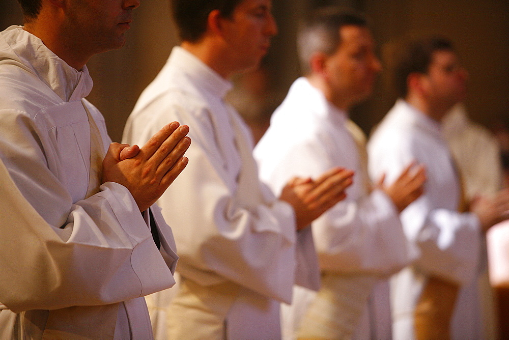 Priest Ordination Mass in Saint-Jean cathedral, Lyon, Rhone, France, Europe