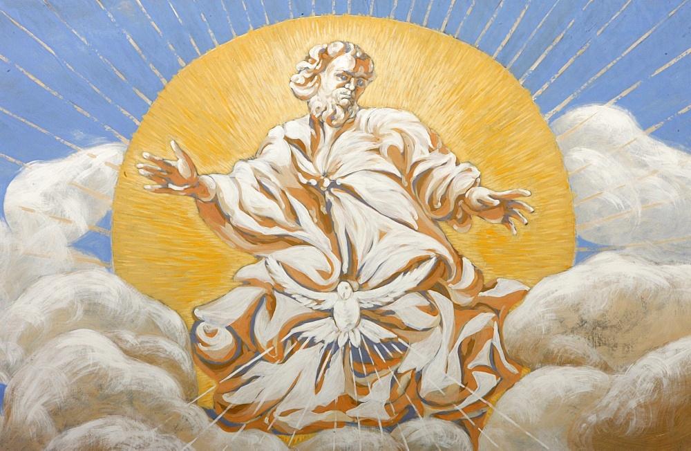 God and the Holy Ghost in Saint-Nicolas de Veroce church, Haute Savoie, France, Europe