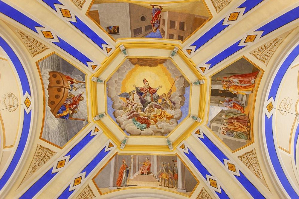 Frescoes in Saint-Nicolas de Veroce church, Haute Savoie, France, Europe