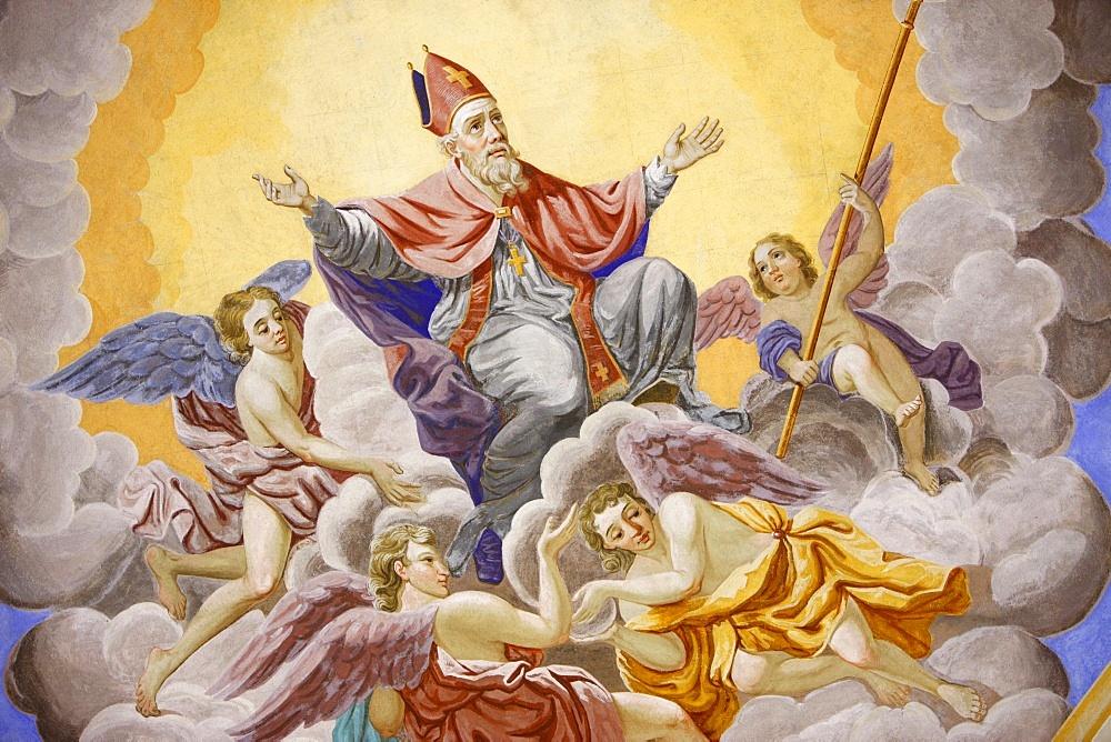 Life of  St. Nicolas in Saint-Nicolas de Veroce church, Haute Savoie, France, Europe
