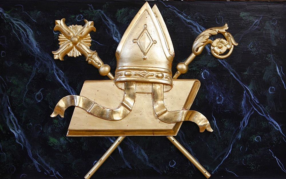 Bishop's objects in Saint-Nicolas de Veroce church, Haute Savoie, France, Europe