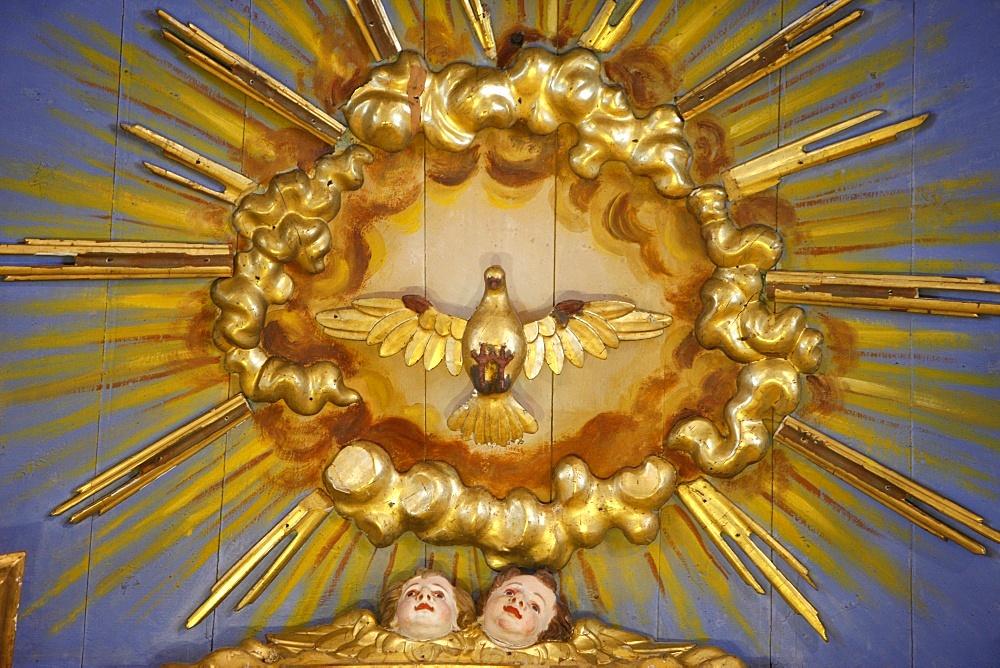 Holy Ghost in Saint-Nicolas de Veroce church, Haute Savoie, France, Europe