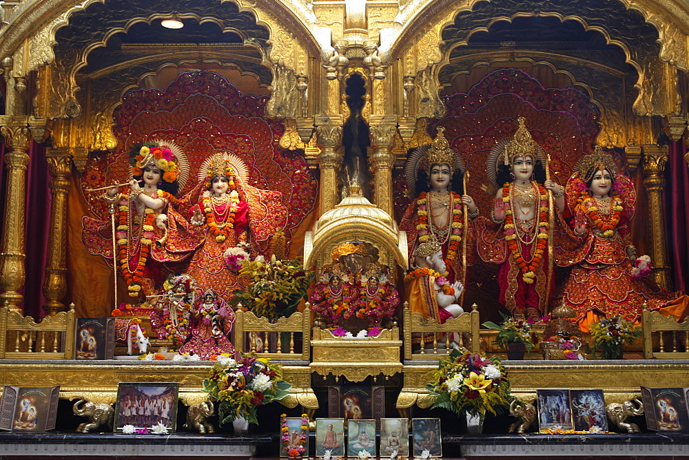 From left to right, statues of Krishna, Rada, Rama, with Hanuman in front, Sita and Laxmi, Bhaktivedanta Manor temple, Watford, Hertfordshire, England, United Kingdom, Europe