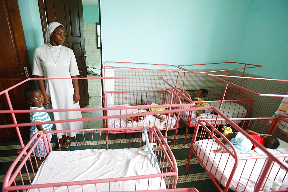 Nursery and kindergarten run by Catholic nuns, Lome, Togo, West Africa, Africa