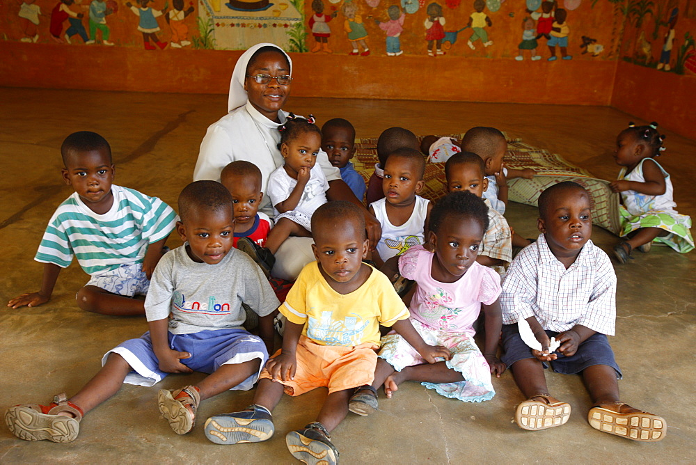 Kindergarten run by Catholic nuns, Lome, Togo, West Africa, Africa