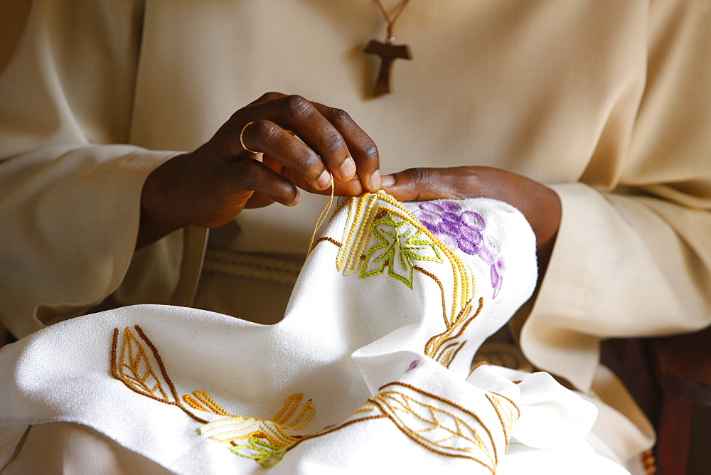Seamstress at Akepe Catholic Monastery, Akepe, Togo, West Africa, Africa
