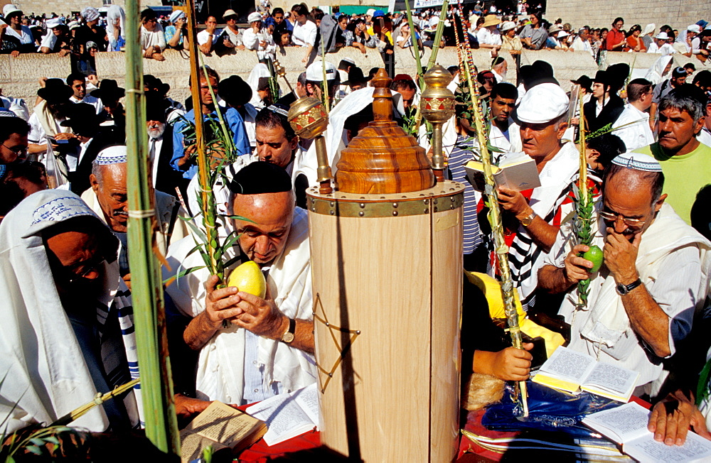 The Priestly Blessing ceremony by the Western Wall at Succot, Old City, Jerudalem, Israel, Middle East