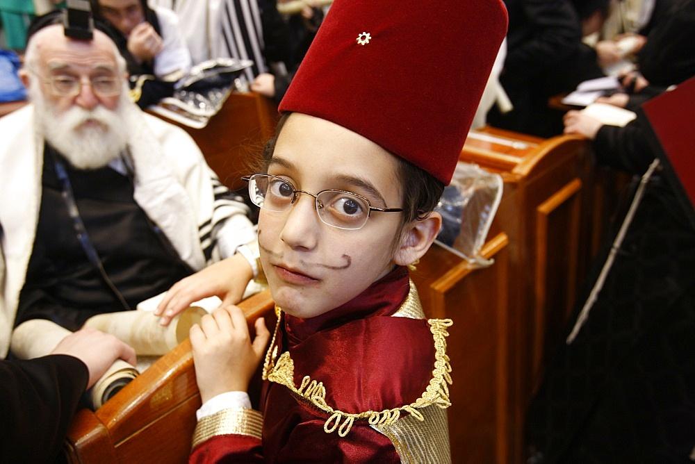 Purim celebration in the Belz Synagogue, Jerusalem, Middle East