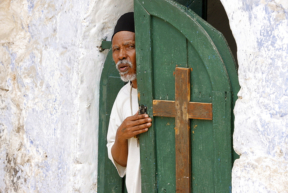 Egyptian Coptic priest at the Holy Sepulchre, Jerusalem, Israel, Middle East