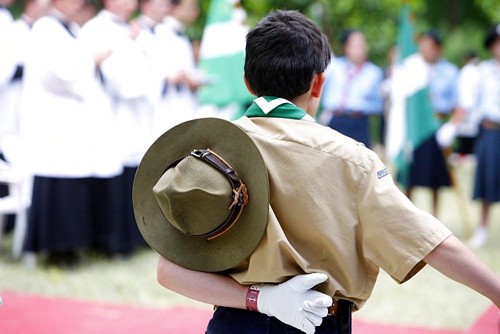 Boy scout at Catholic Mass, Villepreux, Yvelines, France, Europe