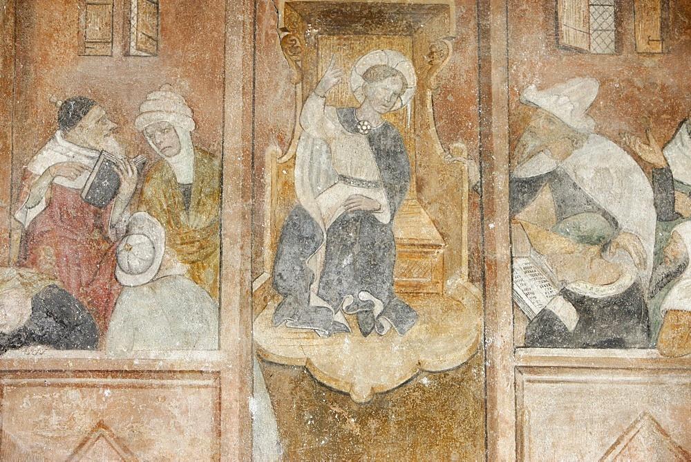 Fresco of Jesus with the Rabbis, Abondance abbey church, Abondance, Haute Savoie, France, Europe