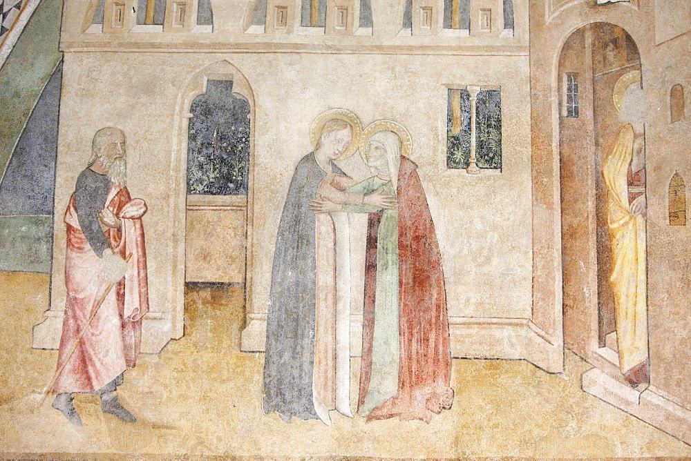 Fresco of the Visitation, Abondance abbey church, Abondance, Haute Savoie, France, Europe
