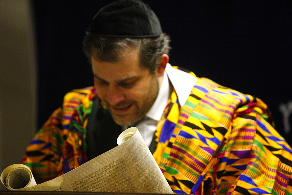 Book of Esther (Meguilah), Purim celebration in a Liberal synagogue, Paris, France, Europe