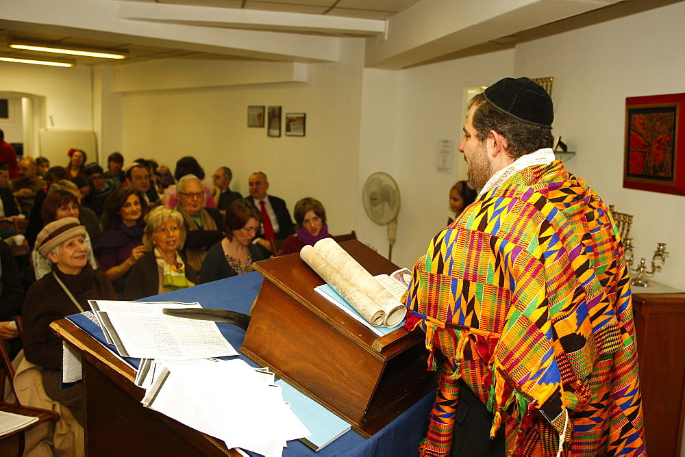 Purim celebration in a Liberal synagogue, Paris, France, Europe