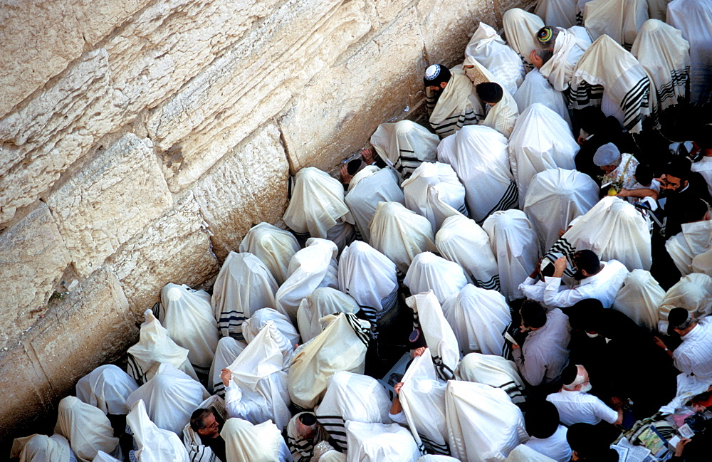 The Priestly Blessing Ceremony by the Western Wall at Succot, Old City, Jerusalem, Israel, Middle East