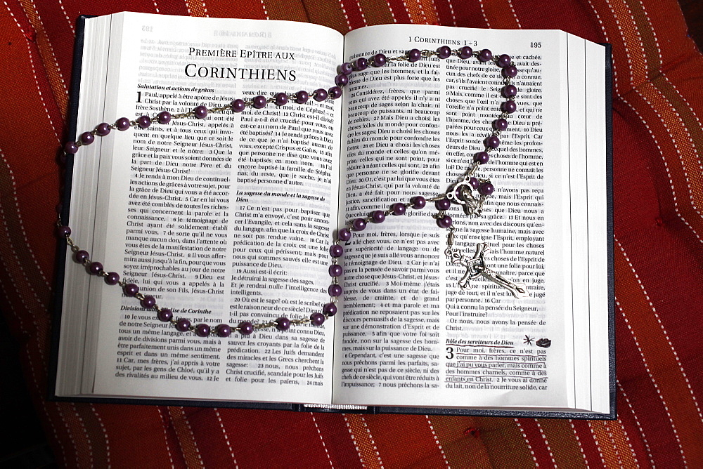 Bible and prayer beads, France, Europe