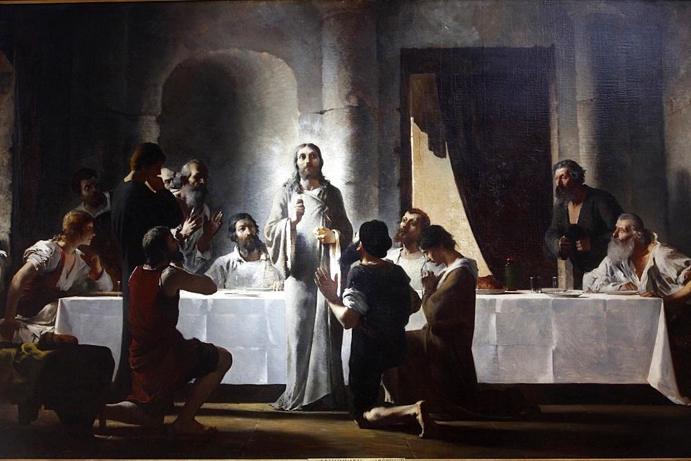 The Last Supper by Henri Lerolle, a 19th century oil painting, Saint-Francois-Xavier church, Paris, France, Europe