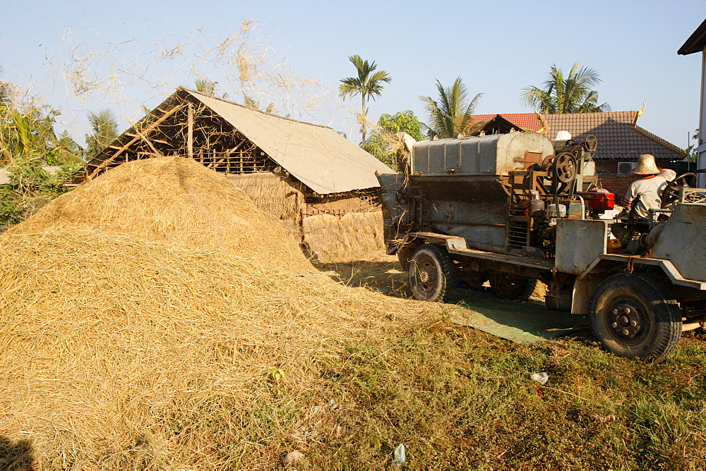 Rice processing, Siem Reap, Cambodia, Indochina, Southeast Asia, Asia