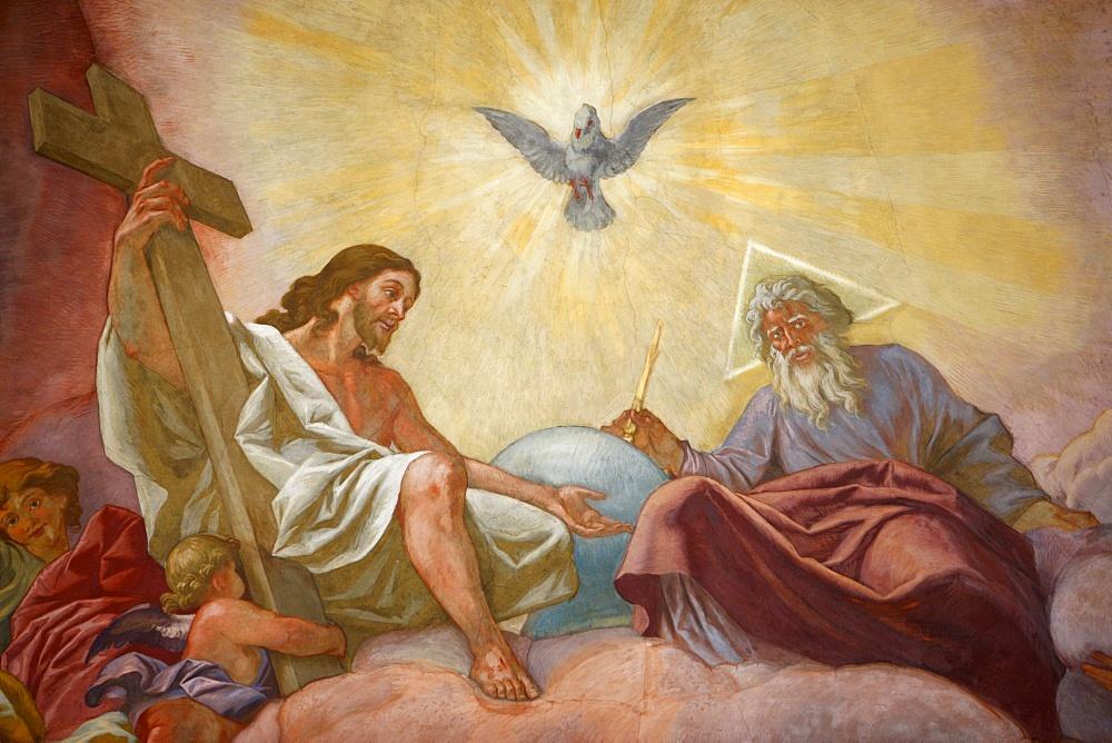 Jesus, God and the Holy Spirit, Franciscan Church of Vienna, Vienna, Austria, Europe