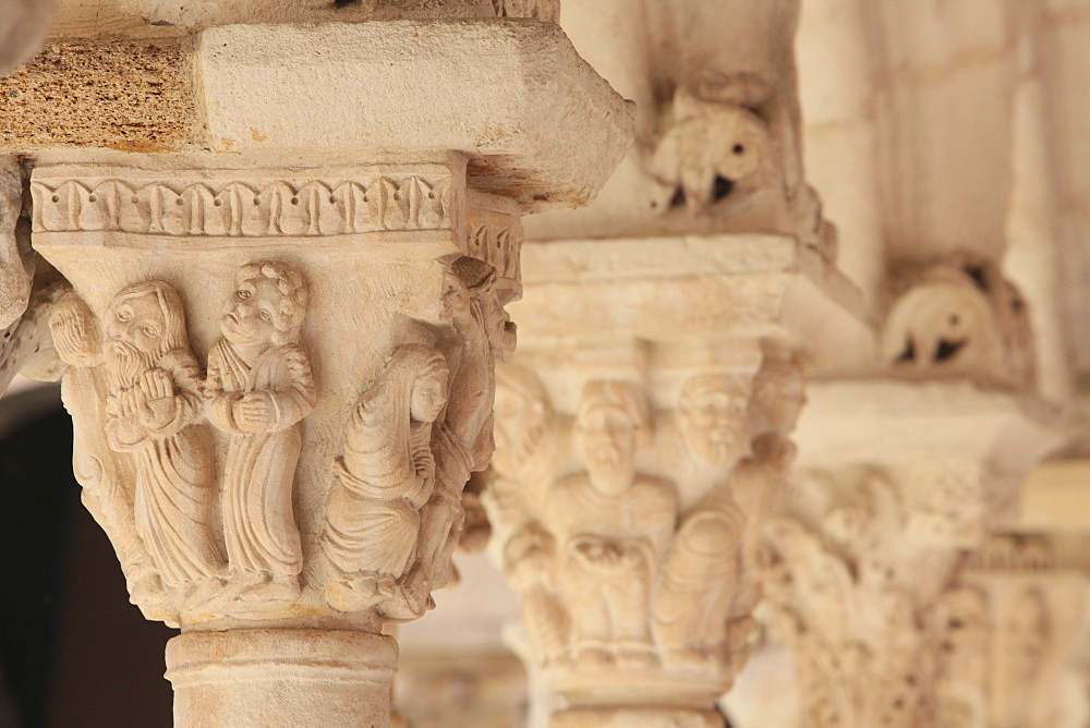 Capitals in the Cloister of Saint Sauveur cathedral, Aix en Provence, Bouches du Rhone, France, Europe
