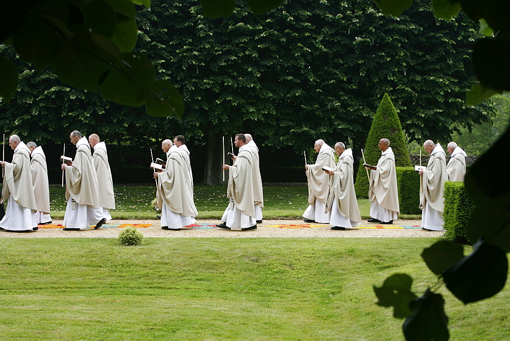 Procession in Saint-Pierre de Solesmes Abbey, Solesmes, Sarthe, Pays de la Loire, France, Europe