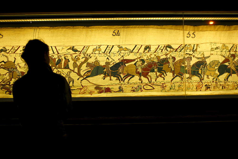 Bayeux Tapestry known in France as La Tapisserie de la Reine Mathilde (Tapestry of Queen Mathilda), Bayeux, Normandy, France, Europe