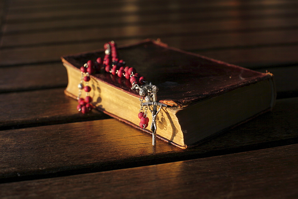 Old Bible and rosary, Madikwe, South Africa, Africa