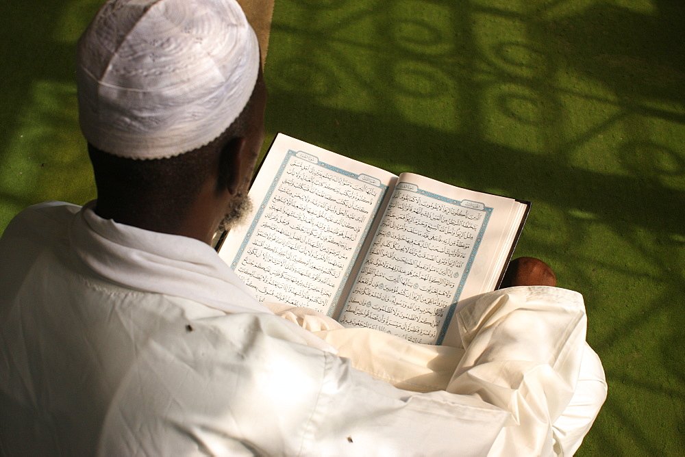 Imam reading the Koran, Brazzaville, Congo, Africa