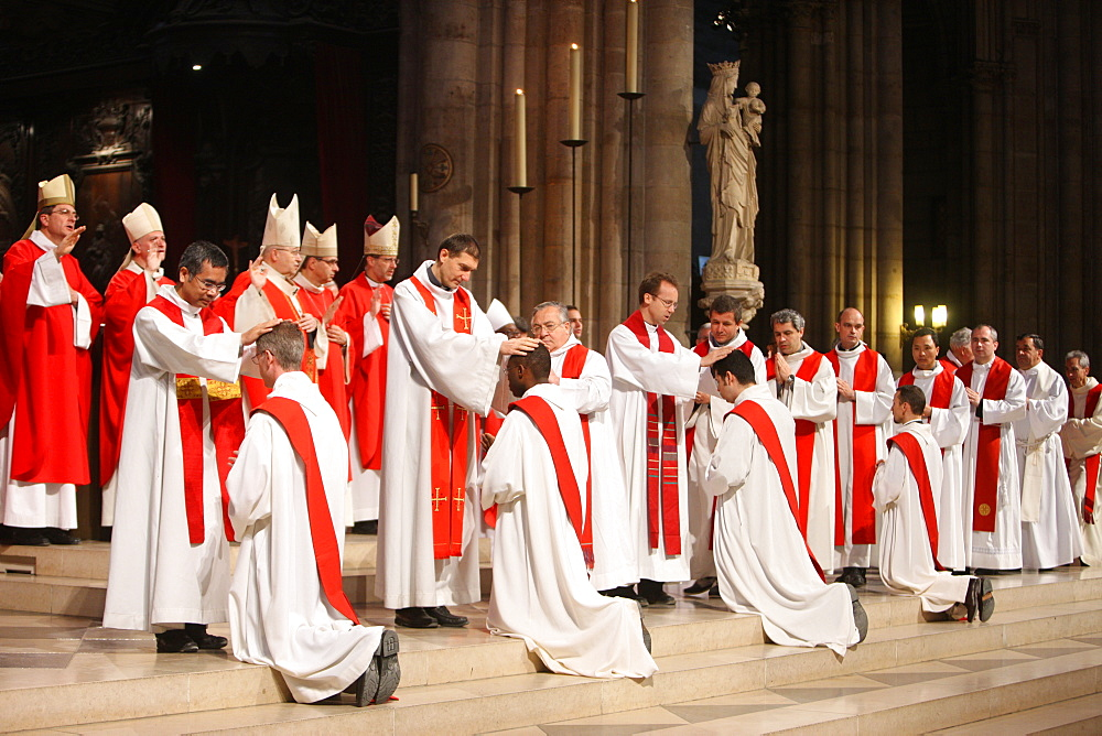 Priest ordinations at Notre Dame cathedral, Paris, France, Europe