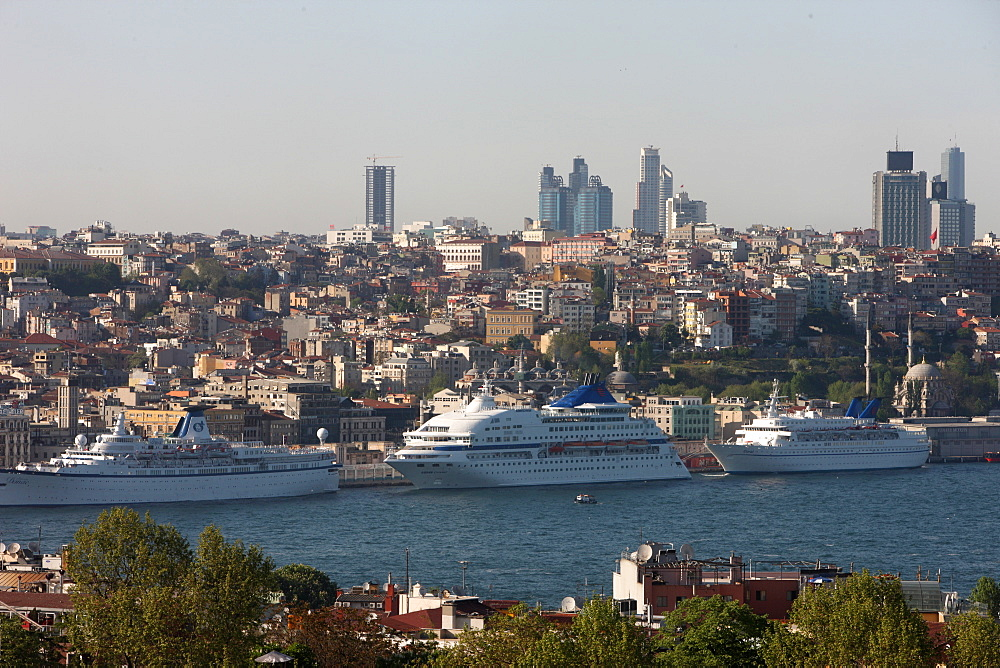 Overview of the Bosphorus, Istanbul, Turkey, Europe