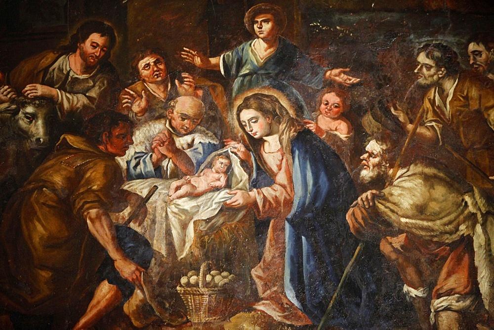Nativity painting in Iglesia ex-conventual de Ntra. Sra del Carmen, Antequera, Andalucia, Spain, Europe - 809-4326