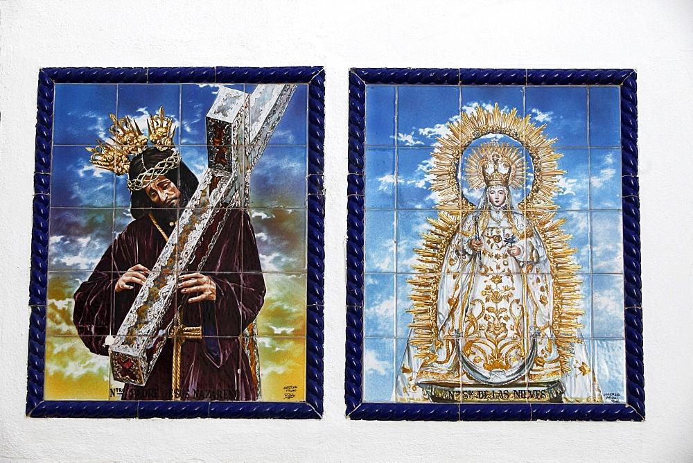 Azulejo mosaic tilework panels, Arcos de la Frontera, Andalucia, Spain, Europe