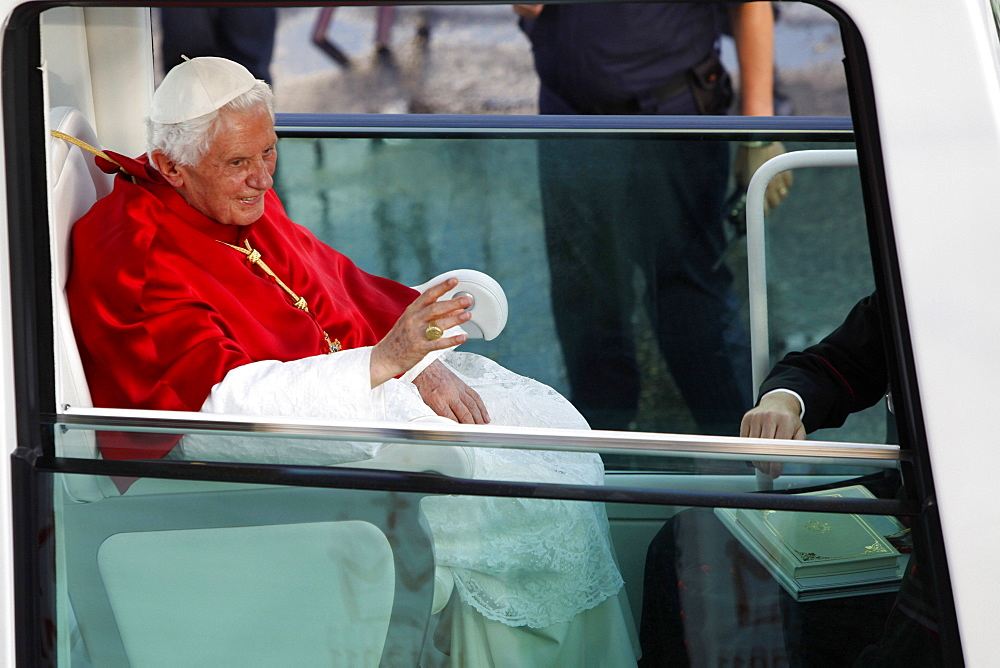 Pope Benedict XVI at Cybeles Square during World Youth Day 2011, Madrid, Spain, Europe