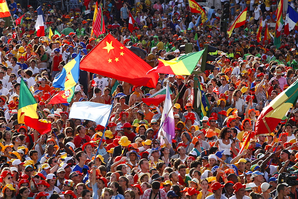 Crowd of pilgrims at World Youth Day, Madrid, Spain, Europe