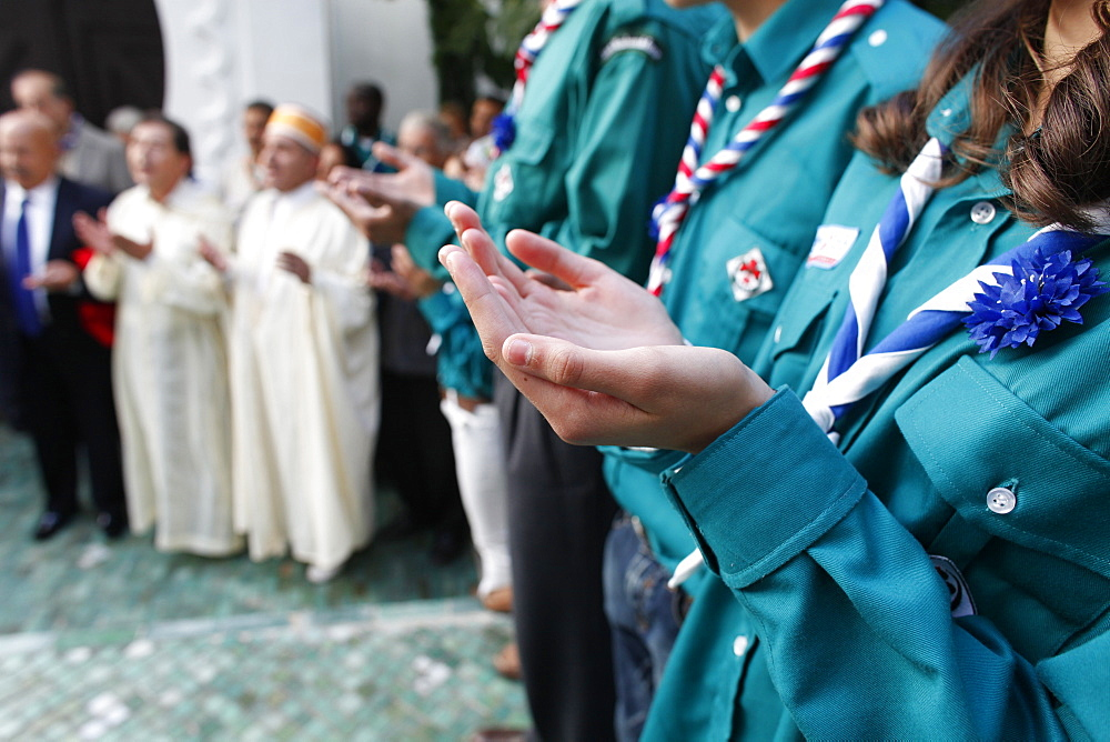 Muslim scouts praying, Paris, France, Europe