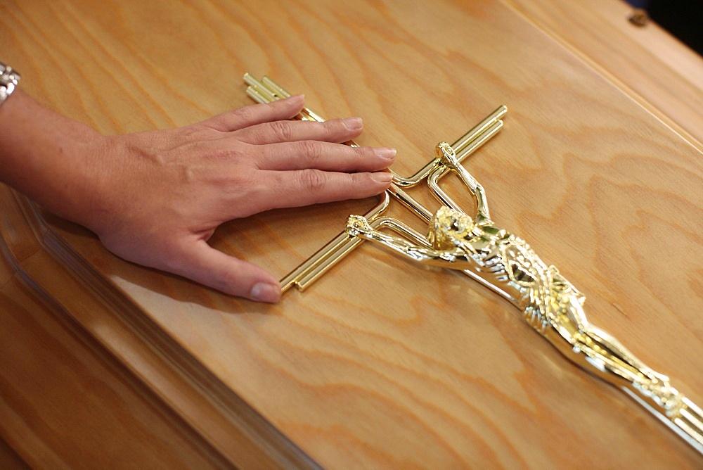 Crucifix on a coffin, Paris, France, Europe