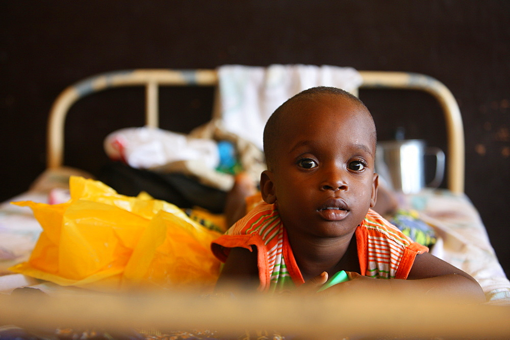 Young patient in an African hospital, Lome, Togo, West Africa, Africa