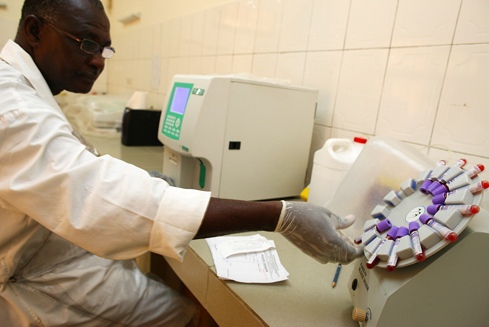 Laboratory at Medical center for HIV positive patients, Lome, Togo, West Africa, Africa