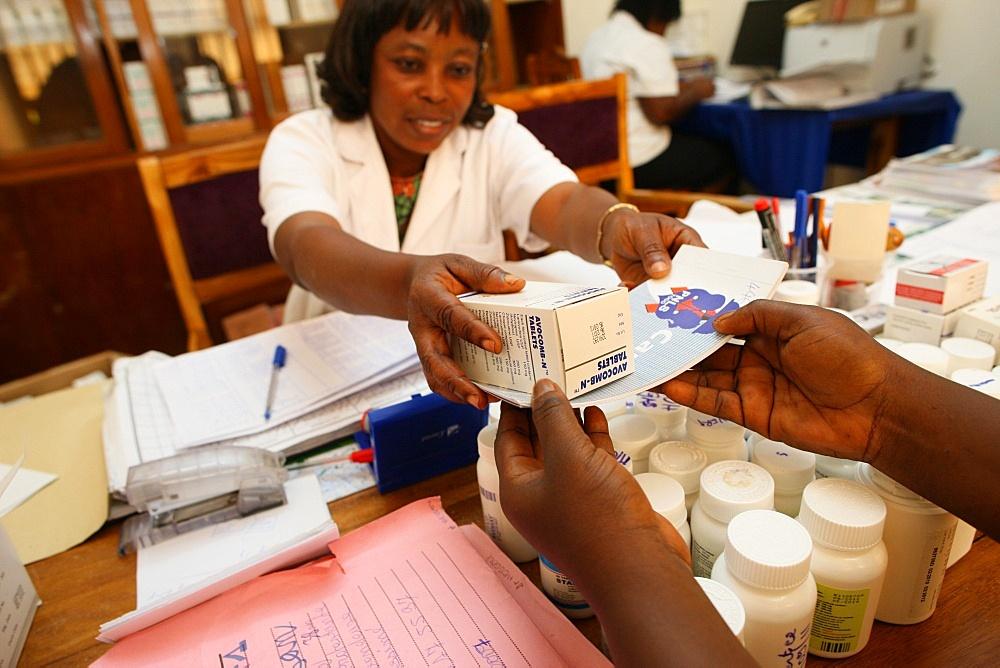 Drug distribution at Medical center for HIV positive patients, Lome, Togo, West Africa, Africa