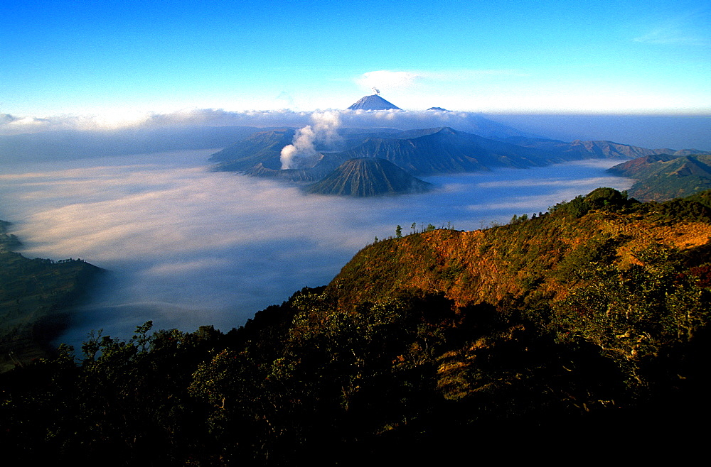 Caldeira and Bromo, 2329 m, and Semeru, 3676 m, two volcanoes on Java, Indonesia, Southeast Asia, Asia