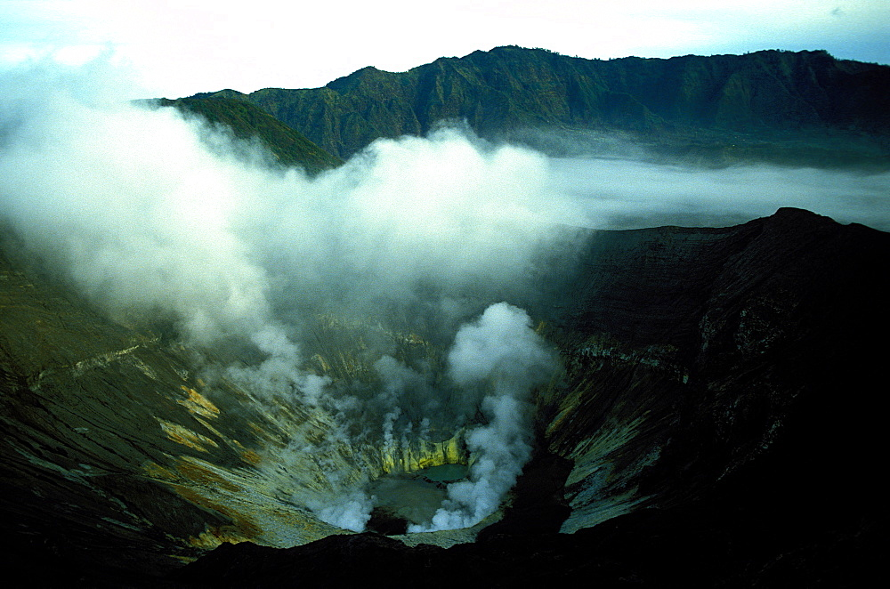 Bromo volcano crater on Java, Indonesia, Southeast Asia, Asia
