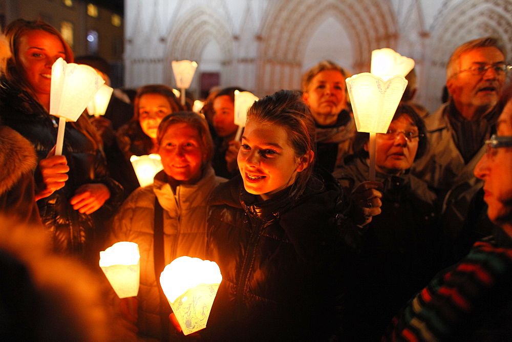 Fete des Lumieres (Festival of Lights) held every year on december 8, a night procession from St. John's cathedral to Fourviere Basilica, Lyon, Rhone, France, Europe