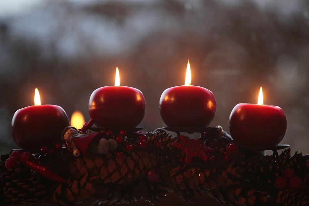 Advent candles, Saint-Pierre-en-Faucigny, Haute Savoie, France, Europe