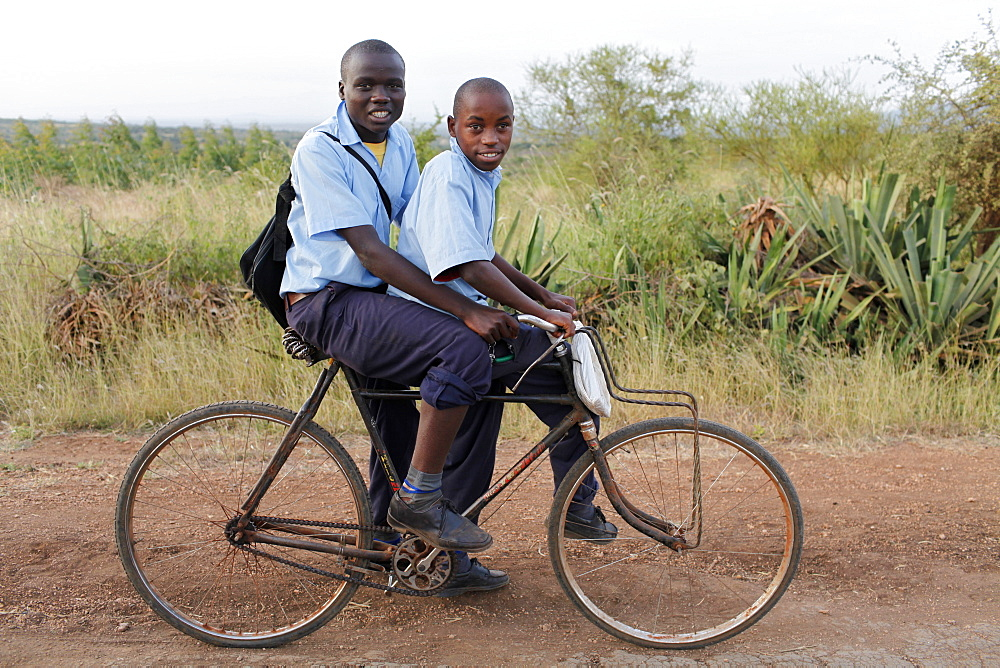 Schoolchildren on a bike, Embu, Kenya, East Africa, Africa