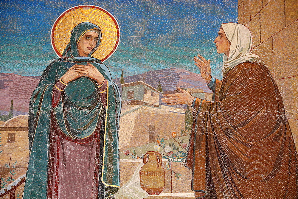The Visitation, Mary visits her relative Elizabeth, Church of the Saviour on Spilled Blood (Church of Resurrection), UNESCO World Heritage Site, St. Petersburg, Russia, Europe