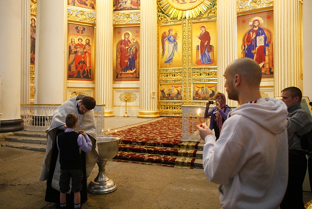 Orthodox baptism, Trinity Cathedral, St. Petersburg, Russia, Europe