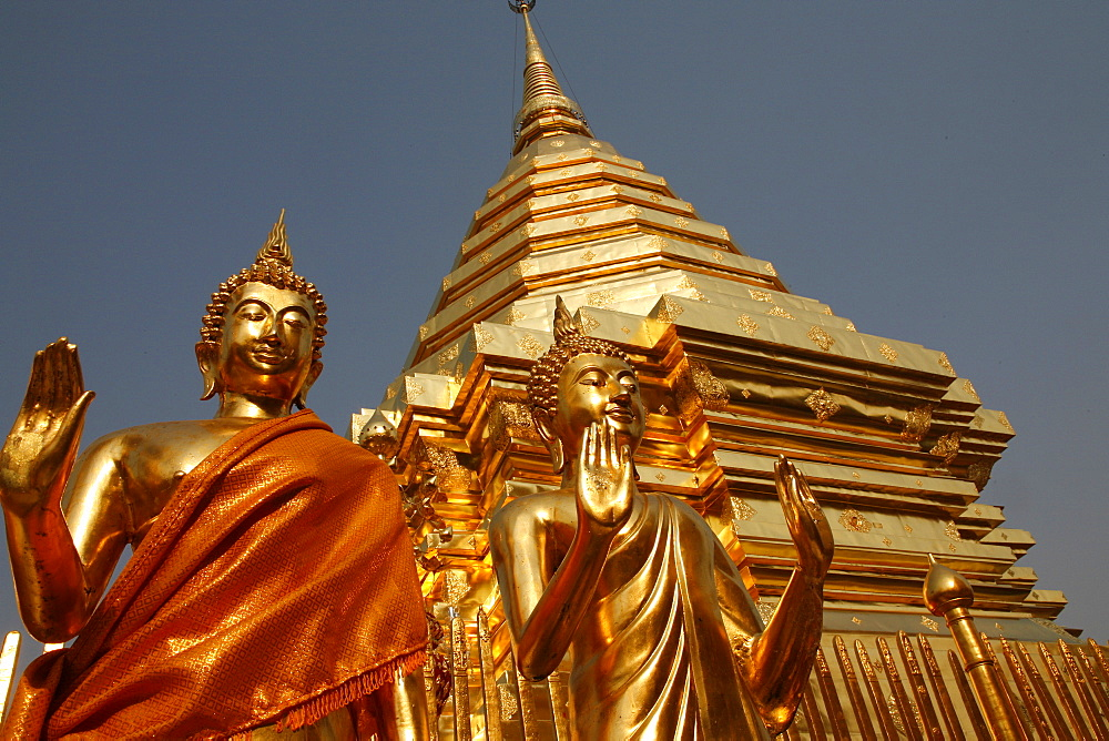 Statues and chedi in Doi Suthep temple, Chiang Mai, Thailand, Southeast Asia, Asia