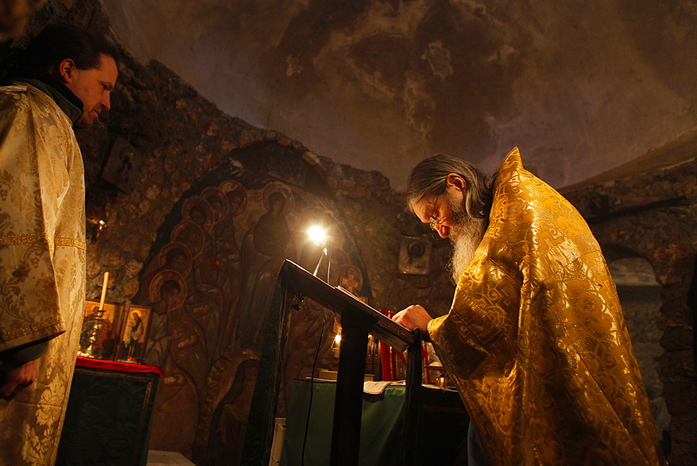 Deacon and priest, Russian Orthodox church celebration, Le Mesnil St. Denis, Yvelines, France, Europe - 809-5048