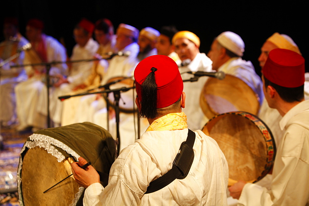 Moroccan Sufi musicians, Paris, France, Europe