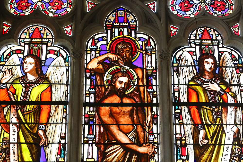 Stained glass window depicting the Baptism of Jesus by John the Baptist, St. Germain l'Auxerrois church, Paris, France, Europe